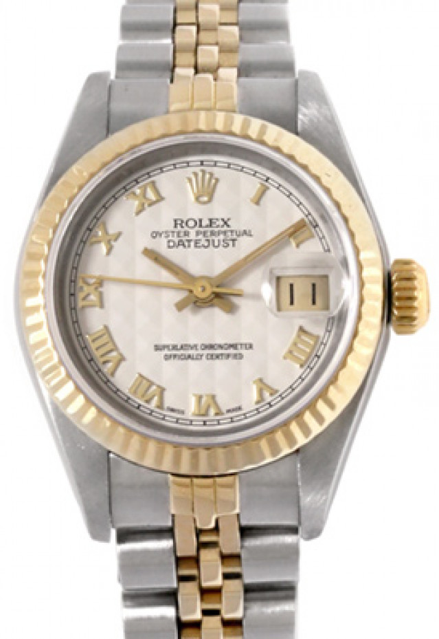 Rolex 69173 Yellow Gold & Steel on Jubilee, Fluted Bezel Ivory Pyramid with Gold Arabic