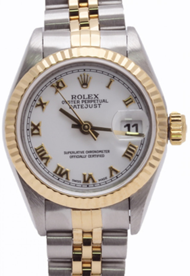 Rolex 69173 Yellow Gold & Steel on Jubilee, Fluted Bezel White with Black Arabic