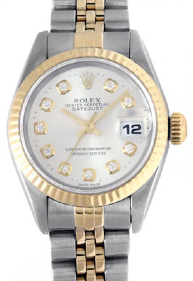 Rolex 69173 Yellow Gold & Steel on Jubilee, Fluted Bezel Steel Diamond Dial
