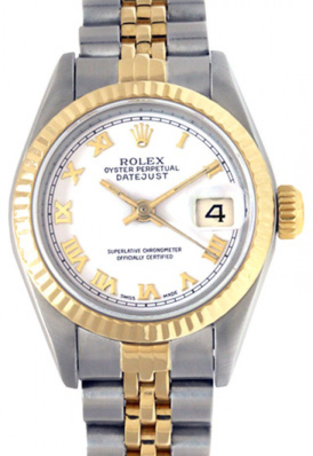 Rolex 69173 Yellow Gold & Steel on Jubilee, Fluted Bezel White with Gold Arabic