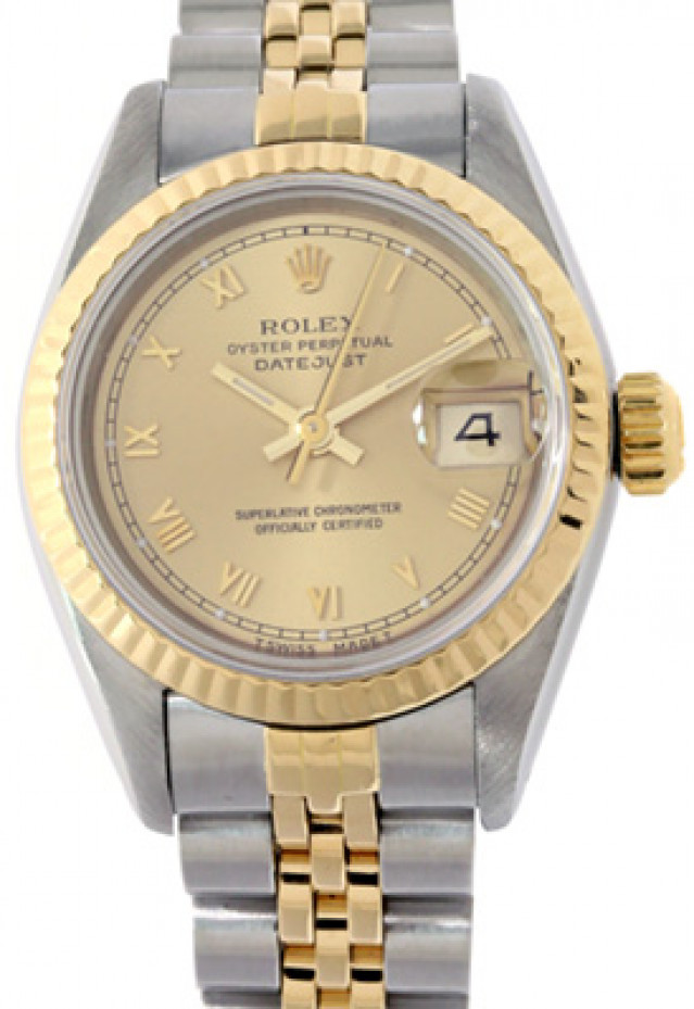 Rolex 69173 Yellow Gold & Steel on Jubilee, Fluted Bezel Champagne with Gold Roman