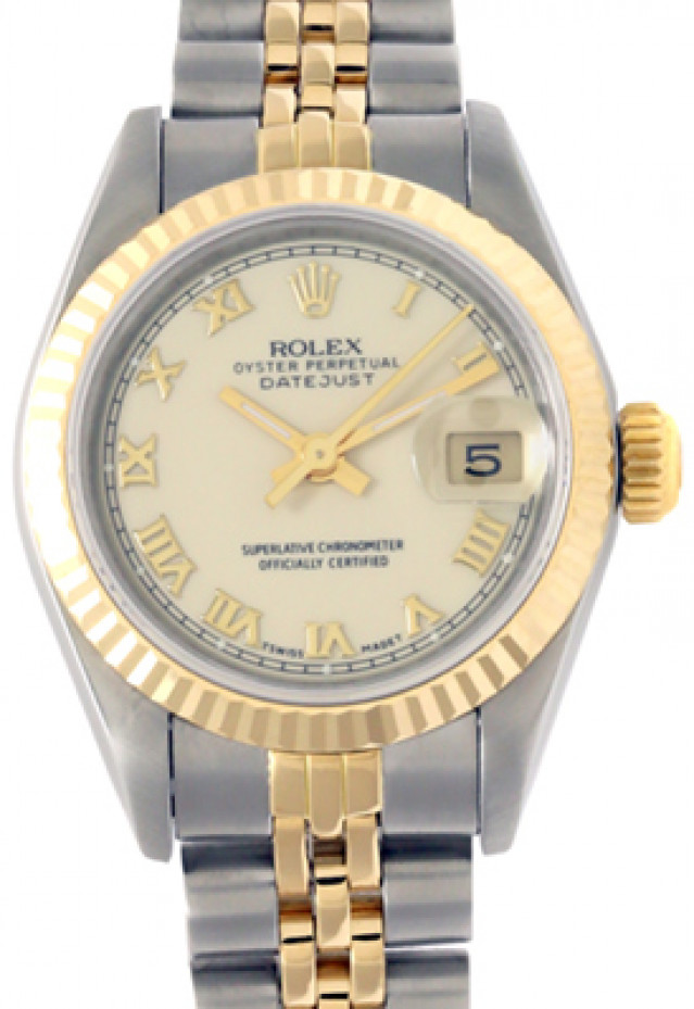 Rolex 69173 Yellow Gold & Steel on Jubilee, Fluted Bezel Ivory Roman with Gold Roman