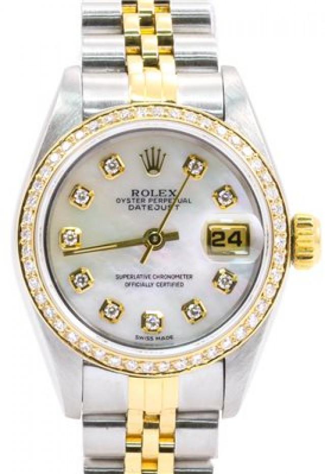 Rolex 69173 Yellow Gold & Steel on Jubilee, Diamond Bezel Mother Of Pearl White Diamond Dial