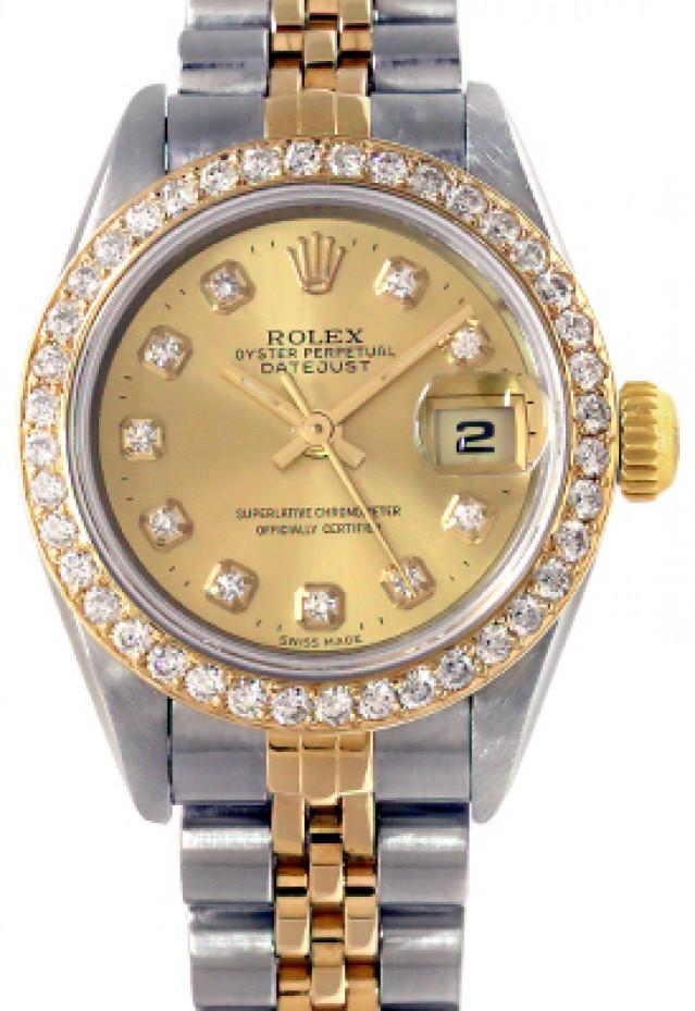 Rolex 69173 Yellow Gold & Steel on Jubilee, Diamond Bezel Champagne Diamond Dial