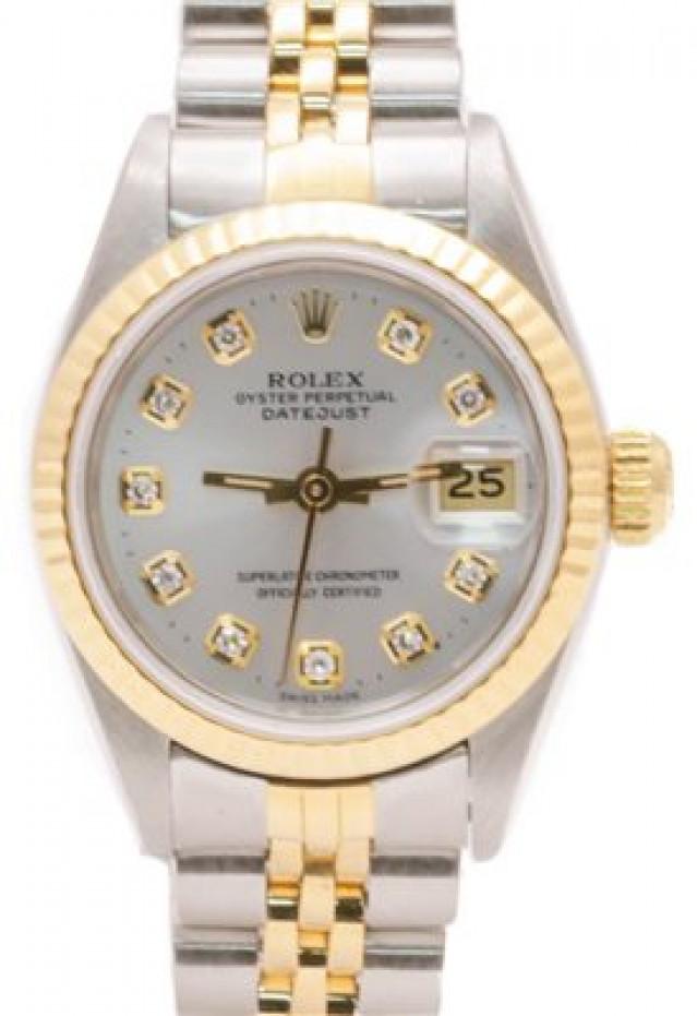 Rolex 69173 Yellow Gold & Steel on Jubilee, Fluted Bezel Silver Diamond Dial