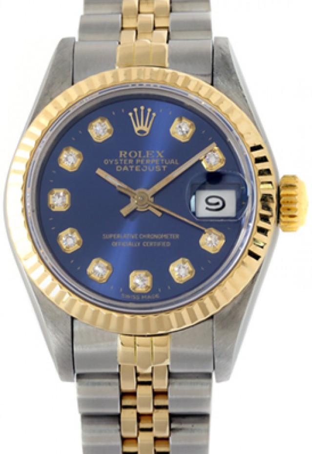 Rolex 69173 Yellow Gold & Steel on Jubilee, Fluted Bezel Blue Diamond Dial