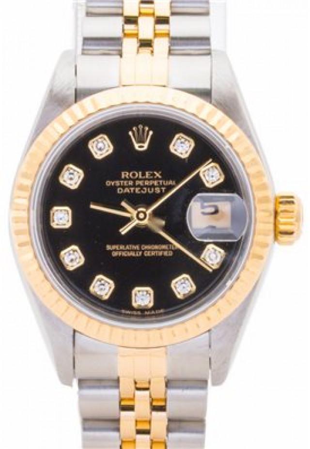 Rolex 69173 Yellow Gold & Steel on Jubilee, Fluted Bezel Black Diamond Dial