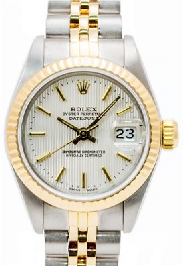 Rolex 69173 Yellow Gold & Steel on Jubilee, Fluted Bezel Silver Tapestry with Gold index