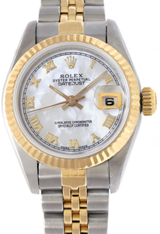 Rolex 69173 Yellow Gold & Steel on Jubilee, Fluted Bezel White Mother Of Pearl with Gold Roman