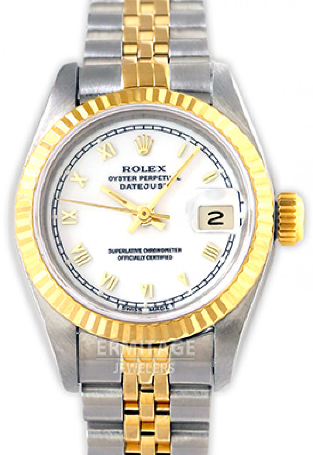 Rolex 69173 Yellow Gold & Steel on Jubilee, Fluted Bezel White with Gold Roman