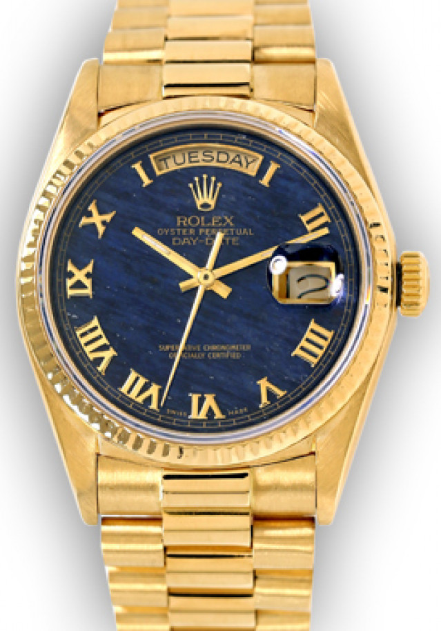 Rolex 18038 Yellow Gold on President, Fluted Bezel Blue Marble with Gold Roman