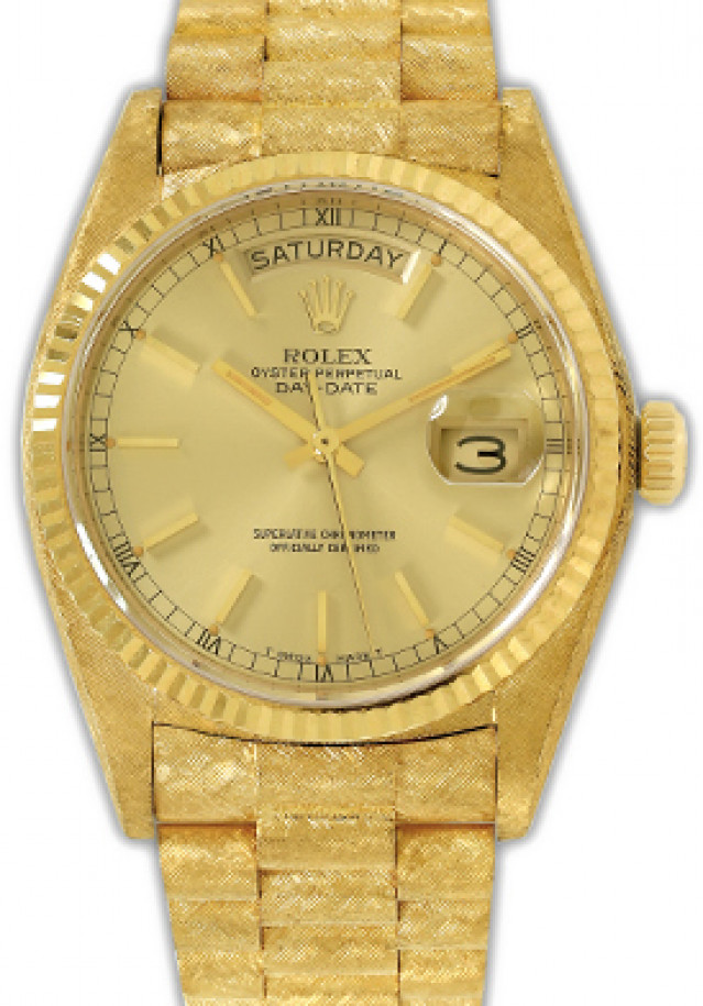 Rolex 18038 Yellow Gold on President Florentine, Fluted Bezel Champagne with Gold Index