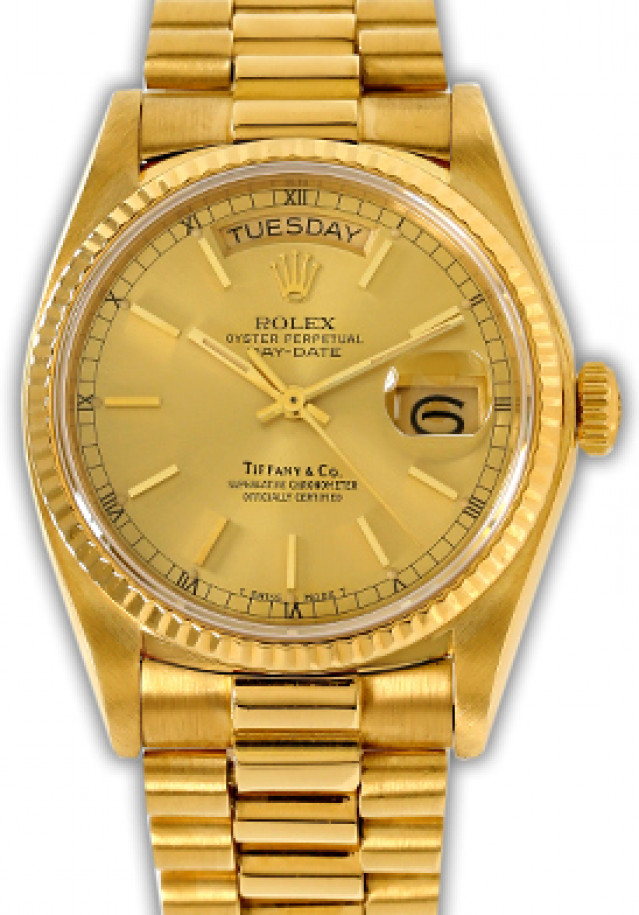 Rolex 18038 Yellow Gold on President, Fluted Bezel Champagne Tiffany with Gold Index