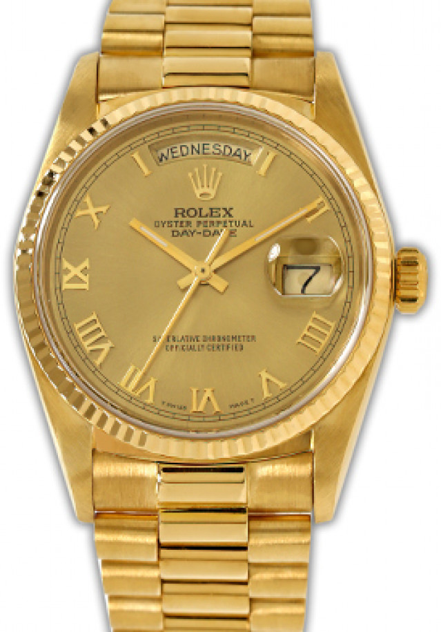 Rolex 18038 Yellow Gold on President, Fluted Bezel Champagne with Gold Roman