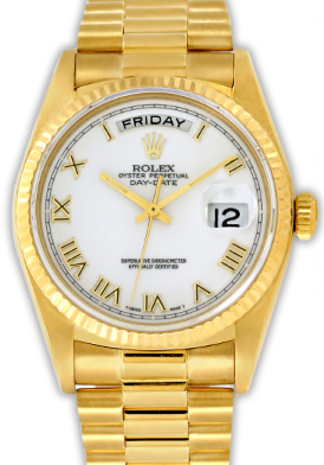 Rolex 18038 Yellow Gold on President, Fluted Bezel White with Gold Roman