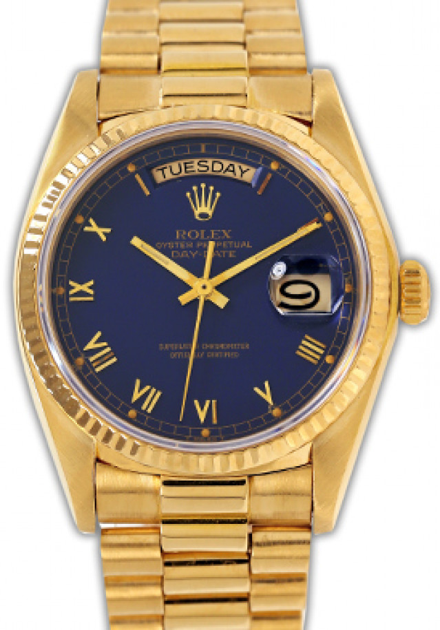 Rolex 18038 Yellow Gold on President, Fluted Bezel Blue with Gold Roman