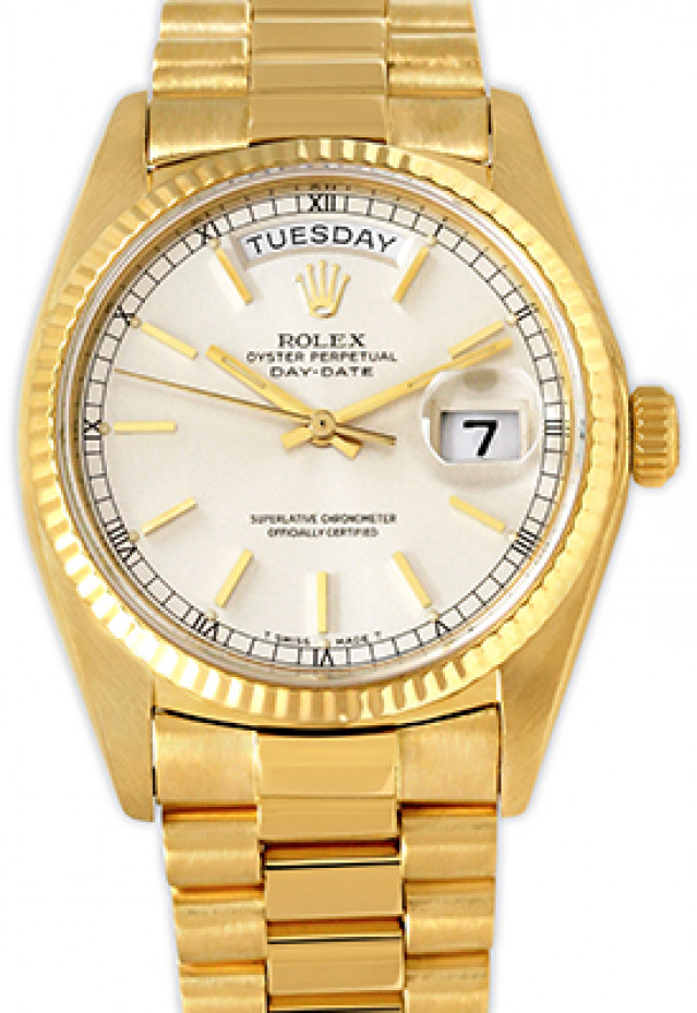 Rolex 18038 Yellow Gold on President, Fluted Bezel Steel with Gold Index