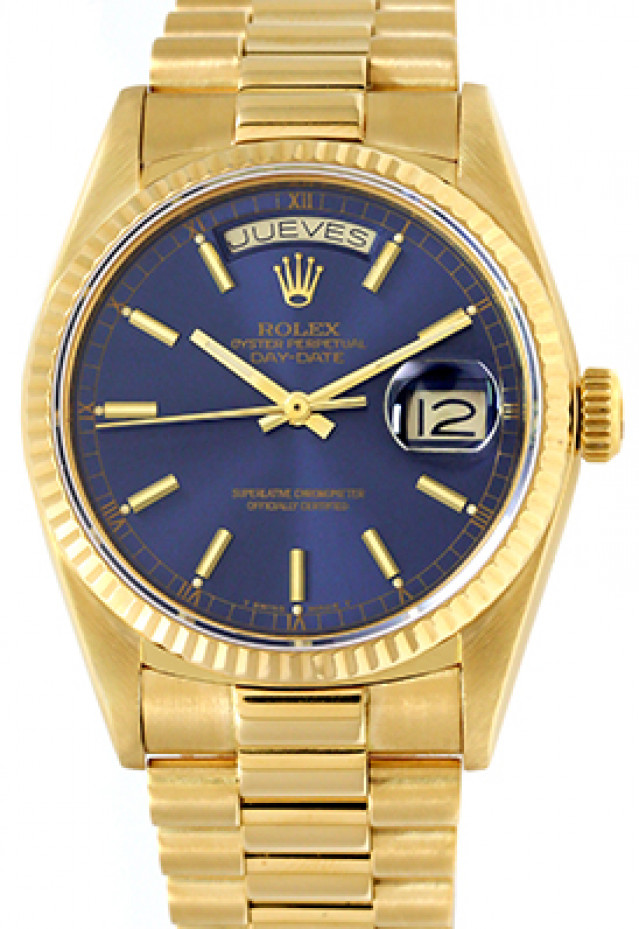 Rolex 18038 Yellow Gold on President, Fluted Bezel Blue Spanish Calender with Gold Index