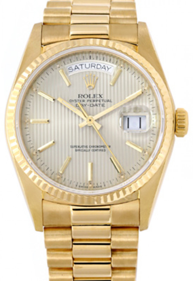 Rolex 18038 Yellow Gold on President, Fluted Bezel Steel Tapestry with Gold Index