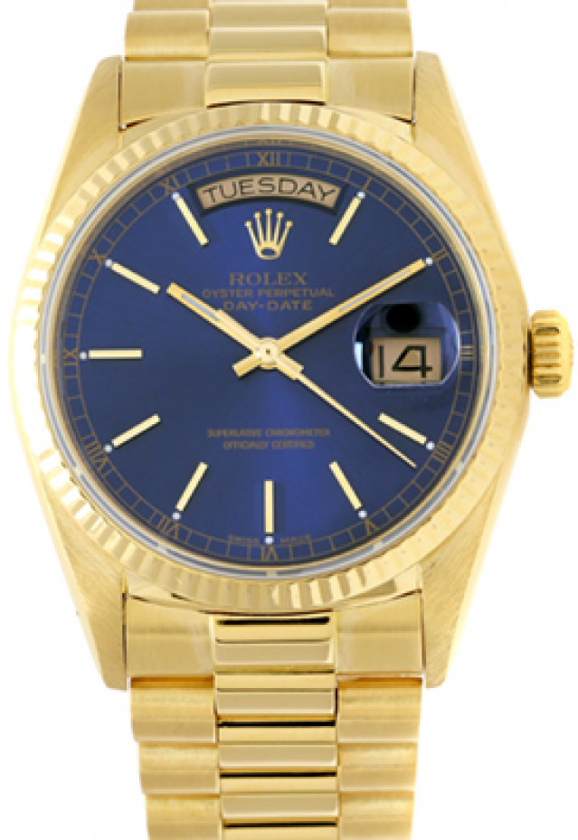 Rolex 18038 Yellow Gold on President, Fluted Bezel Blue with Gold Index