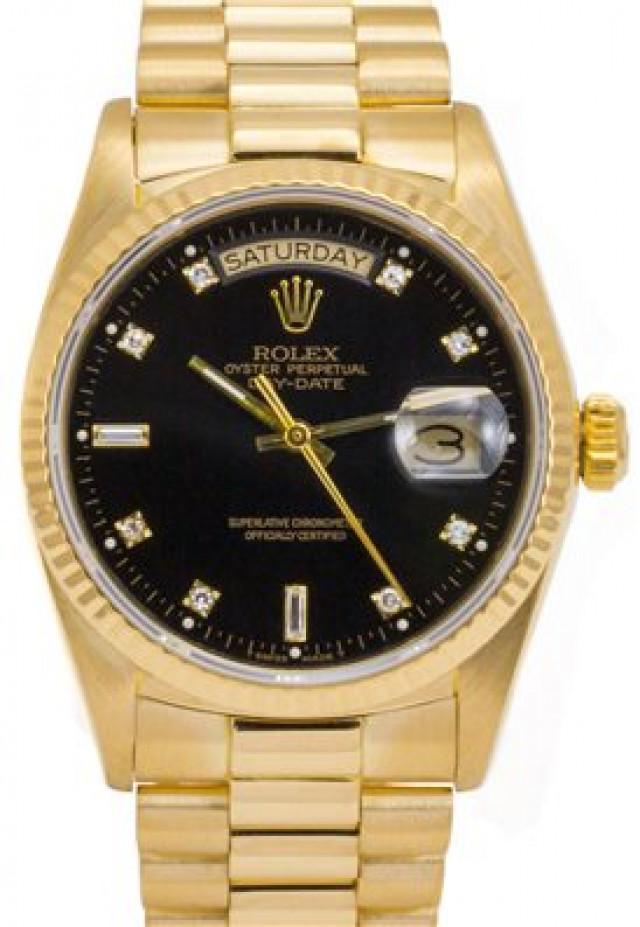 Rolex 18038 Yellow Gold on President, Fluted Bezel Black Diamond Dial