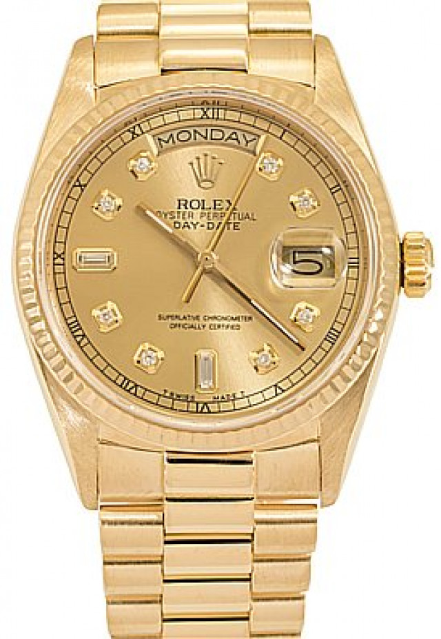 Rolex 18038 Yellow Gold on President, Fluted Bezel Champagne Diamond Dial