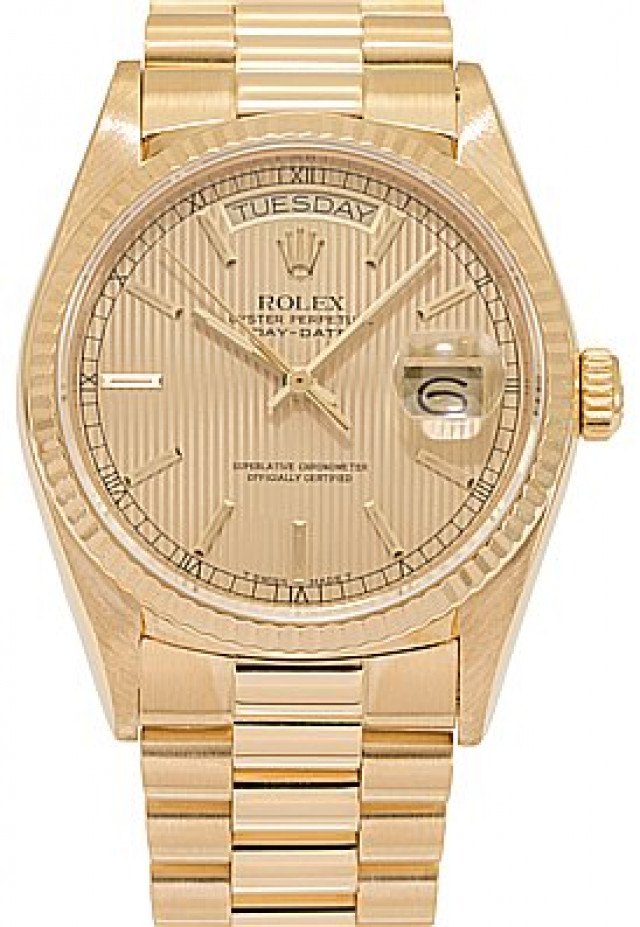 Rolex 18038 Yellow Gold on President, Fluted Bezel Champagne Tapestry with Gold Index