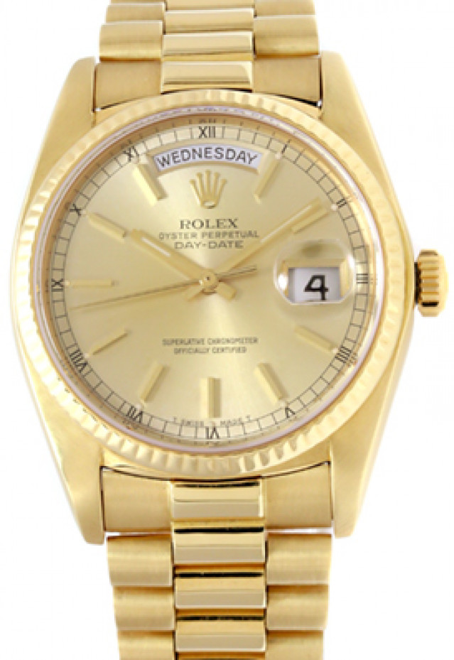 Rolex 18038 Yellow Gold on President, Fluted Bezel Champagne with Gold Index