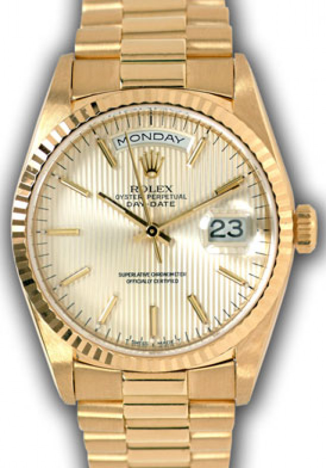 Rolex 18238 Yellow Gold on President, Fluted Bezel Steel Tapestry with Gold Index