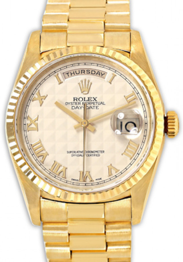Rolex 18238 Yellow Gold on President, Fluted Bezel White Pyramid with Gold Roman