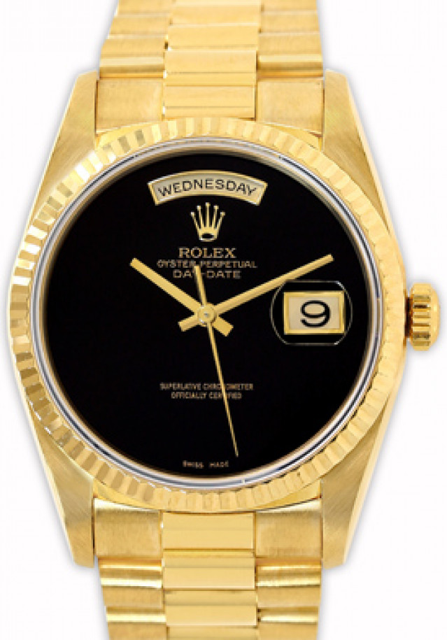 Rolex 18238 Yellow Gold on President, Fluted Bezel Black Onyx with Rolex Crown