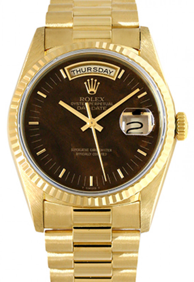 Rolex 18238 Yellow Gold on President, Fluted Bezel Brown with Gold Index