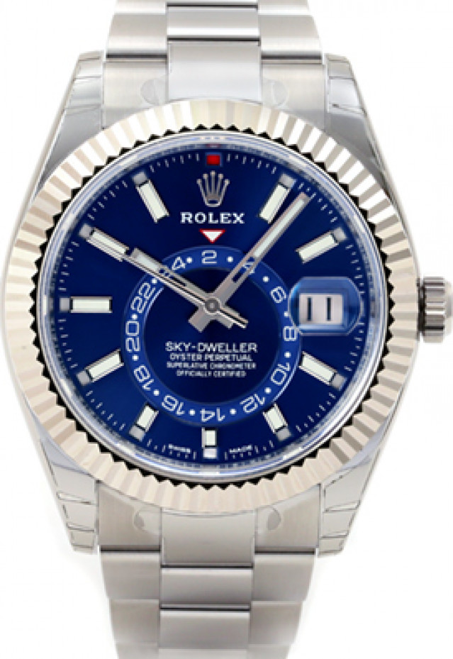 Rolex 326934 White Gold & Steel on Oyster Blue with Luminous Index