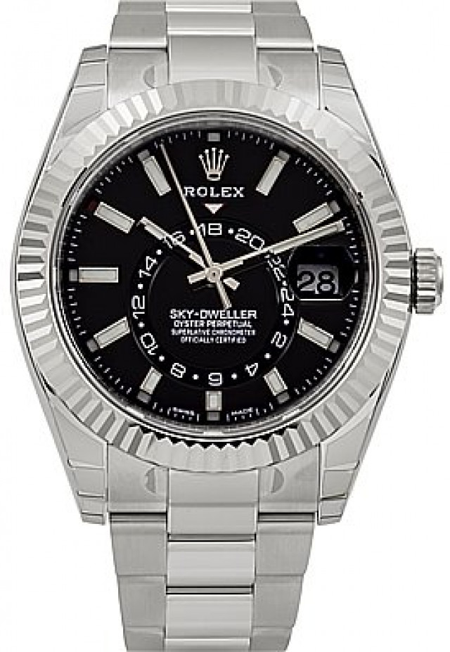 Rolex 326934 White Gold & Steel on Oyster Black with Luminous Dots & Index On Steel