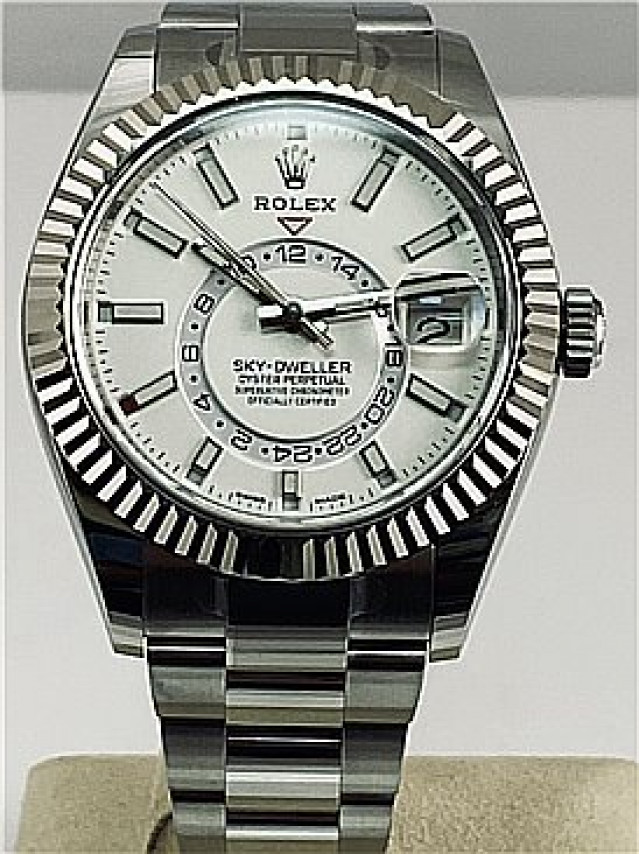 Rolex 326934 White Gold & Steel on Oyster White with Luminous Index on Steel