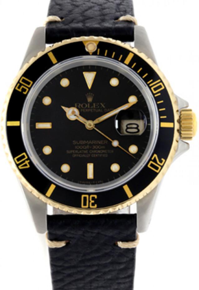 Rolex 16613 Yellow Gold & Steel on Strap Black