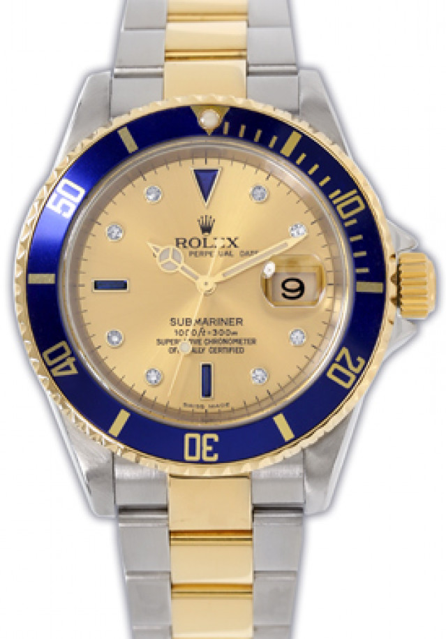 Rolex 16613 Yellow Gold & Steel on Oyster, Blue Champagne Diamond Dial