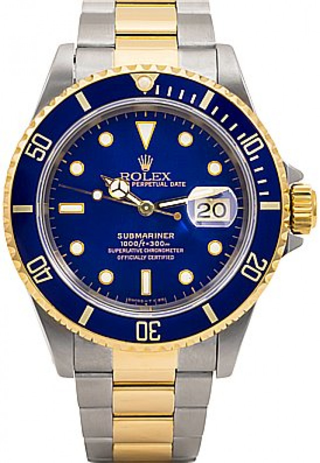 2008  Blue Bezel & Dial Engraved Rehaut Rolex Submariner 16613