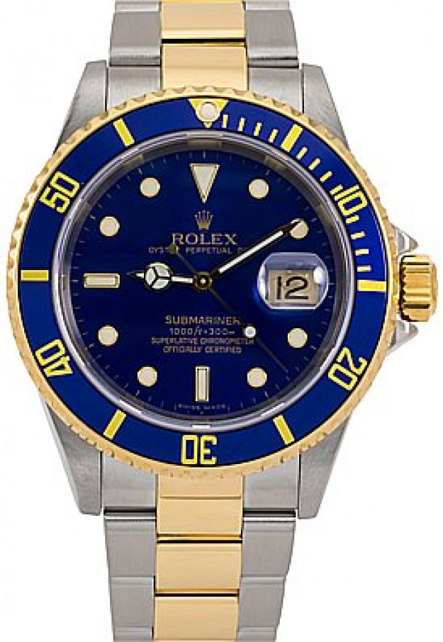 2006 Gold & Steel Blue Bezel & Dial Rolex Submariner 16613