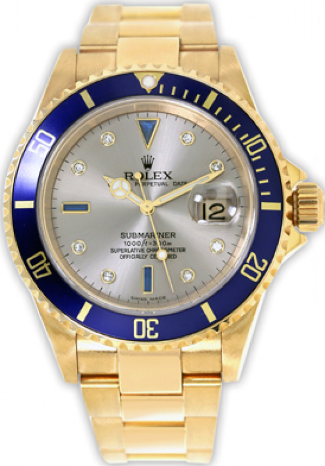 Rolex 16618 Yellow Gold on Oyster Slate Diamond Dial