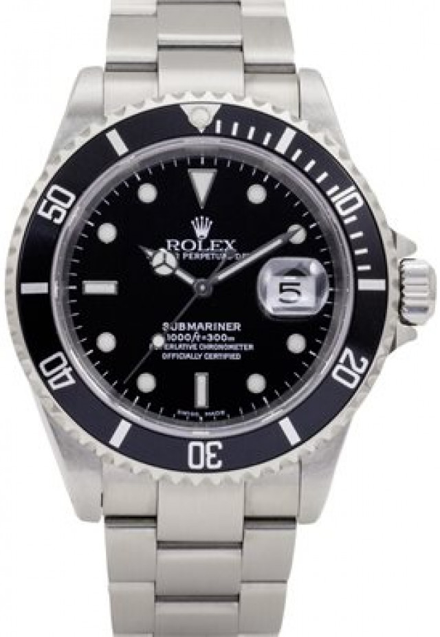 Used Steel on Oyster Rolex Submariner 16610 40 mm