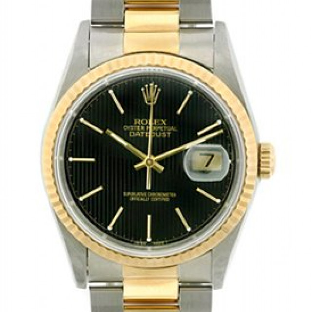 Rolex 16233 Yellow Gold & Steel on Oyster, Fluted Bezel Black Tapestry with Gold Index