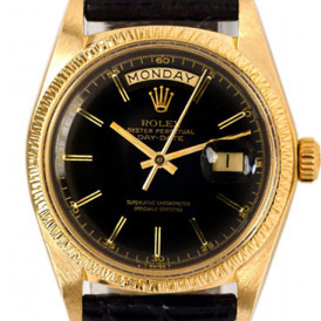 Rolex 1807 Yellow Gold on Strap, Bark Finish Bezel Black with Gold Index