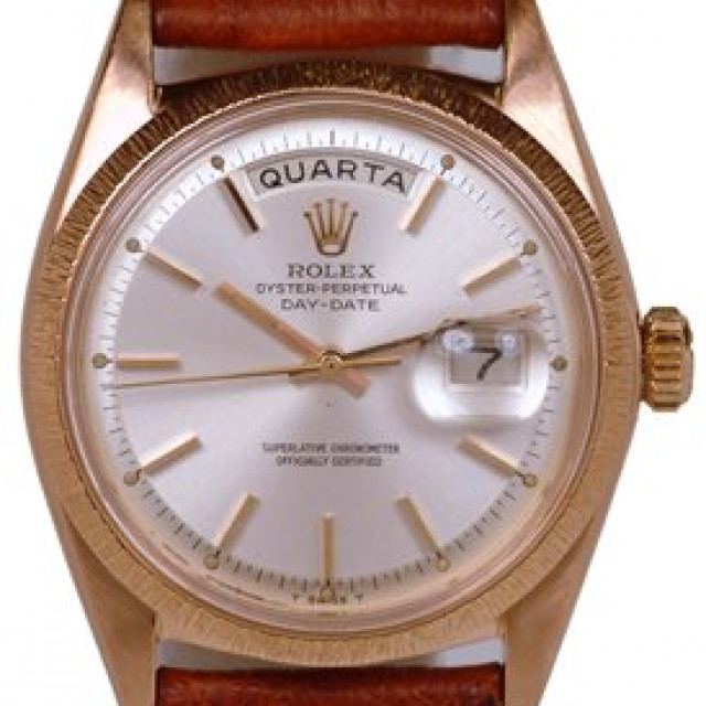 Rolex 1807 Rose Gold on Strap, Bark Finish Bezel Steel with Gold Index