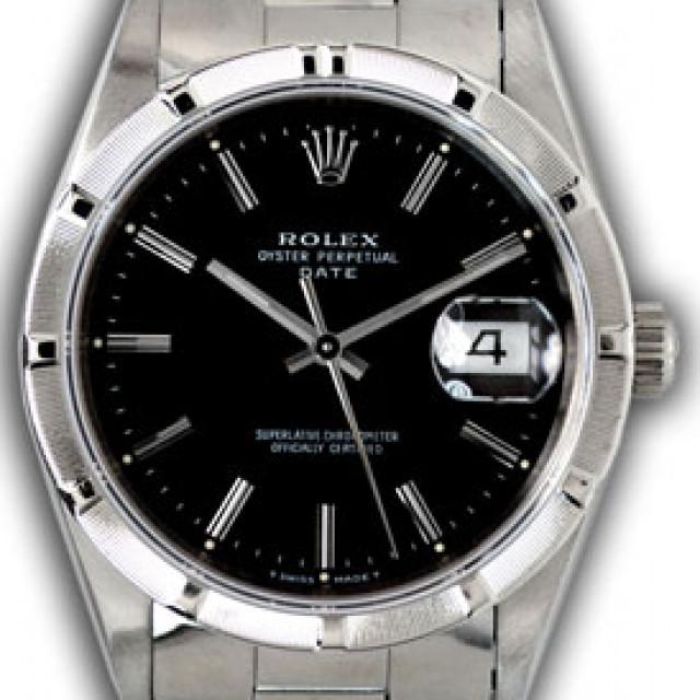 Rolex Date 15210 Steel Black 1992