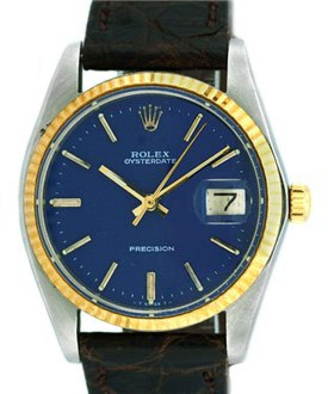 Rolex 6694 Yellow Gold & Steel on Strap, Fluted Bezel Blue with Gold Index