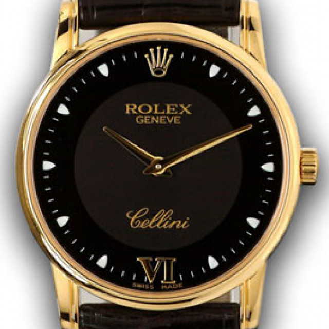 Rolex 5116 Yellow Gold on Strap Black with Gold Roman 6 & Dots