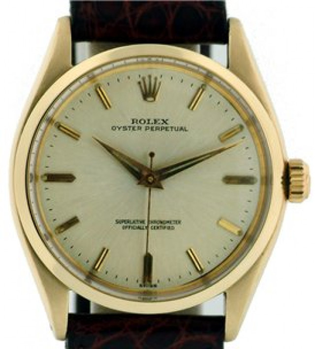Rolex 1002 Yellow Gold on Strap, Smooth Bezel Steel with Gold Index