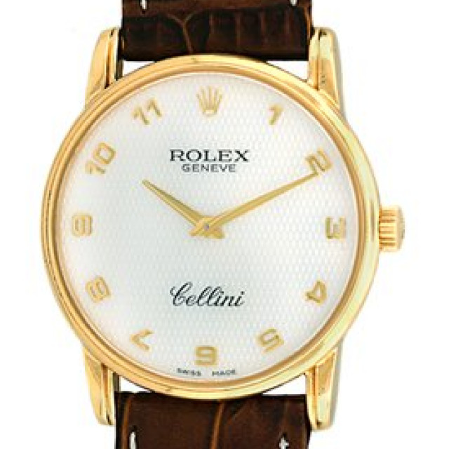 Rolex 5116 Yellow Gold on Strap White Pattern with Gold Arabic