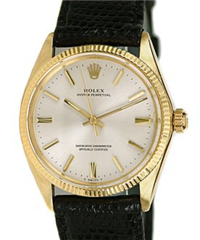 Rolex 1005 Yellow Gold on Strap, Fluted Bezel White Oyster with Gold Index